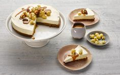 Vanilla creaminess, salted caramel and a popcorn topping make this cheesecake by Lorraine Pascale a special treat