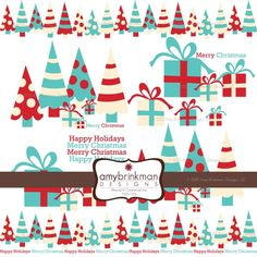 Christmas Clip Art Trees Gifts Typography Trendy Christmas Theme Digital Clip Art for Scrapbooking Cards Invitations Art Journals $4.50 Christmas Tree Clipart, Whoville Christmas, Merry Christmas Happy Holidays, Christmas Art, Christmas Themes, Holiday Decor, Scrapbook Cards, Scrapbooking, Happy Design