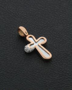 Χειροποίητος Σταυρός ροζ χρυσό Κ18 με Διαμάντια & Φίλντισι