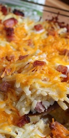 Hashbrown Casserole with Ham ~ This easy to make casserole can be made ahead, only takes minutes to put together, and it's a great recipe to use up leftover ham