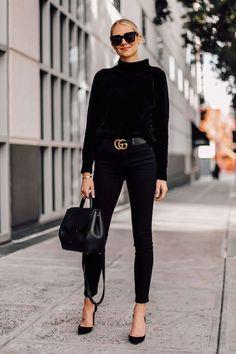 b63c0da4b2d Blonde Woman Wearing Black Chenille Mock Neck Sweater Black Skinny Jeans  Black Pumps Black Gucci Belt Black Satchel Handbag Fashion Jackson San…