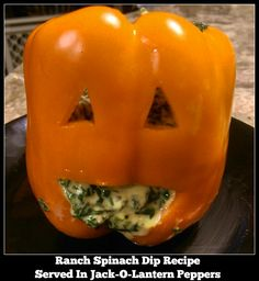 Ranch Spinach Dip Recipe Served In Jack-O-Lantern Peppers - From Val's Kitchen. Recipe inspired by @saladsbydole Orange Green Meanies.