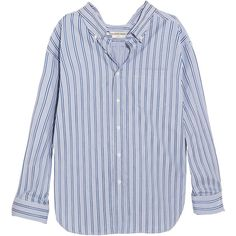 Balenciaga Striped cotton-poplin shirt (5.855 NOK) ❤ liked on Polyvore featuring tops, embroidered top, striped top, shirt top, striped collared shirt and balenciaga shirt