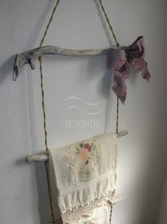 large towel rack for your bath! with a nice bow... by H2ONDE on ETSY