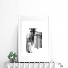 Black and white print abstract painting digital print art