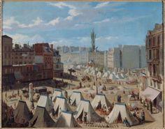 Campement des troupes sur le boulevard du Temple, pendant les journées de juin 1848