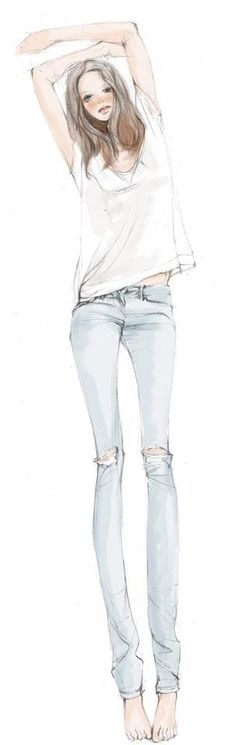 Fashion illustration. Outfit inspo! Light wash jeans and a white tee <3