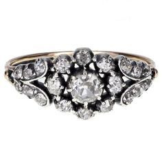 Georgian Diamond Cluster Ring in Silver and Gold For Sale