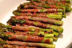 Broiled Prosciutto-Wrapped Asparagus Spears. Omitting the avo oil  as I am allergic to avocadoes, though