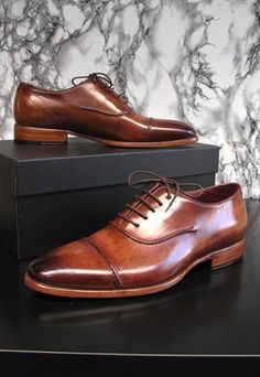 Paul Parkman Men's Captoe Oxfords Brown Hand Painted Shoes from parkmoda