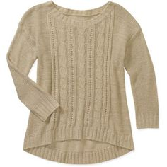 Faded Glory Women's Textured High Low Sweater - Wheat Heather