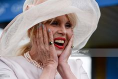 Kildare , Ireland - 22 May 2016; Actress Joanna Lumley reacts as she is presented with flowers on the occasion of her 70th birthday during the Irish Guineas Racing at the Curragh Racecourse, Curragh, Co. Kildare.