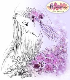 Digital Stamp - Woman with Orchids - Instant Download - digistamp - Fantasy Line Art for Cards & Crafts by Mitzi Sato-Wiuff