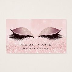 Makeup Gold Blush Pink Glitter Eye Lash Extension Business Card - glitter gifts personalize gift ideas unique