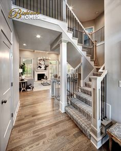 New Model Homes, Entry way decor, Designer Stair Carpet, Custom White Oak Hardwood Floors, Interior Design, Home Decor, Farmhouse, Craftsman Style