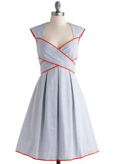 Side Bay Side Dress - Blue, White, Stripes, Cutout, Pleats, Trim, Daytime Party, A-line, Red, Casual, Nautical, Spring, Summer, Sweetheart