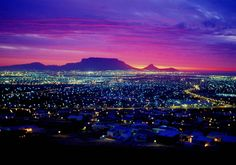 Sunset over Table Mountain, with the N1 Highway and northern suburbs ...
