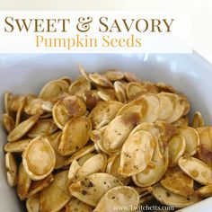 Sweet and Savory Pumpkin Seeds  Brined pumpkin seeds. {Follow these steps to prep your seeds.} Mixing bowl. A sheet pan. Extra virgin olive oil. Brown sugar. Ground black pepper.20 minutes at 275 degrees then bump the heat to 350. Cook an additional 15-25 minutes or until golden brown.