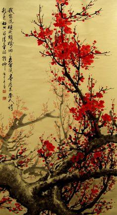 fresque cerisier japonais