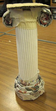 Greek columns, aren't they great. the children worked in groups to produce … Greek columns, aren't they great. the children worked in groups to produce them, think they learned quite a lot about Greek Architecture too!