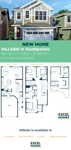 The Hillside offers flexibility for the growing family with modern, open concept living. A spacious kitchen offers an island with sink and seating for two, open to the great room and dining nook. View the floorplan at ExcelHomes.ca #CalgaryHomeBuilder #AlbertaRealEstate #ExcelHomes 3 Bedroom Home Floor Plans, House Floor Plans, Small House Design, Dream Home Design, Sink In Island, Concrete Driveways, Dining Nook, Luxury Vinyl Plank, Modern Exterior
