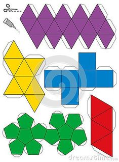 Platonic Solids Paper Model Template Stock Vector - Illustration of card, construction: 43681301 Instruções Origami, Geometric Origami, Geometric Shapes, Paper Folding Crafts, Diy Paper, Paper Art, Paper Crafts, Geometry Activities, Platonic Solid