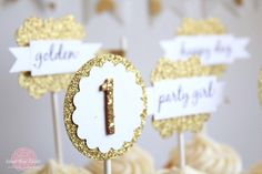 Spotted: Gold #glitter birthday party featuring #AmericanCrafts glitter products via Sweet Rose Studio