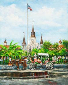St Louis Cathedral at Jackson Square, French Quarter, New Orleans Canvas or Print, New Orleans Art by New Orleans Artist, Dianne Parks