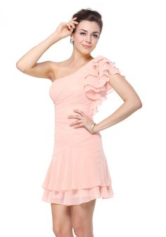 One Shoulder Short/Mini Light Pink Chiffon A-Line Bridesmaid Dress $89.99
