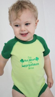 st patricks day baby outfit, Green Im not short Im Leprechaun size St Pattys day bodysuit, lime, kelly green, dark green