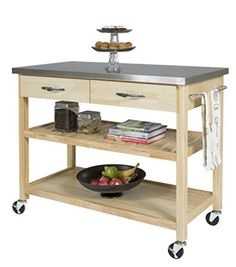 https://smile.amazon.com/gp/product/B01IE056EC/ref=pe_3522240_265678280_pe_epc__1p_2_ti  Could always spray paint it white, like the cabinets.   Best Choice Products Natural Wood Mobile Kitchen Island Utility Cart with Stainless Steel Top Restaurant
