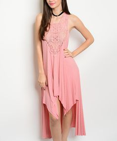 Take a look at this Pink Crochet-Front Hi-Low Dress today!