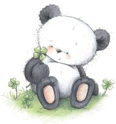 Panda with 4 Leaf Clover. Panda Love, Cute Panda, Panda Panda, Panda Bears, Red Panda, Cartoon Panda, Cute Cartoon, Leaf Animals, Cute Animals