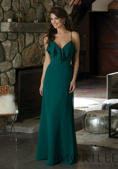 4adcb0f3a858 Morilee | Madeline Gardner, Chiffon Bridesmaid Dress with a Ruffled  V-Neckline Style 21581