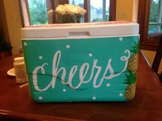 Darling via cooler connection Sorority Canvas, Sorority Paddles, Sorority Crafts, Sorority Recruitment, Sorority Life, Diy Cooler, Coolest Cooler, Beach Cooler, Fraternity Coolers