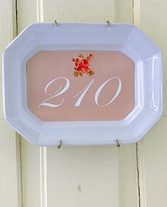 House number on Old plate...Dishfunctional Designs: China Plate Wall Displays: Cheap and Easy!