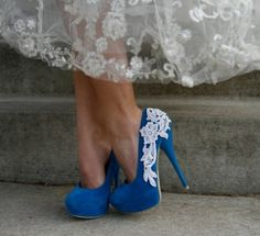 """I think the """"something blue shoe"""" is over-done, but I love the applique"""