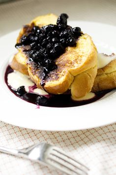Blueberry, lemon compote on marscapone stuffed challah bread French toast