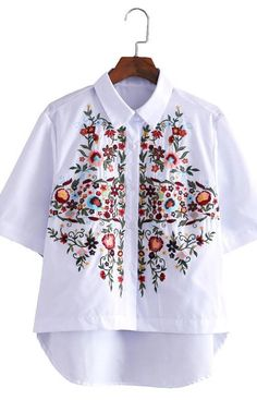 Specifications: Decoration:Embroidery Clothing Length:Regular Sleeve Style:Regular Pattern Type:Floral Style:Casual Fabric Type:Broadcloth Material:Cotton,Polyester Collar:Turn-down Collar Sleeve Leng