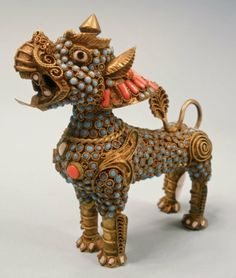 CHINESE FOO DOGS | Chinese Gilt Brass Jeweled Foo Dog Scent Bottle : Lot 144