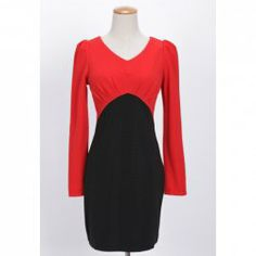 Charming V-Neck Color Matching Puff Sleeve Dress For Women