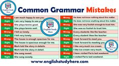 Common Mistakes Archives - English Study Here English Grammar Notes, English Idioms, English Lessons, English Language, Grammar Chart, Grammar Rules, English Teaching Materials, Teaching English, English Study