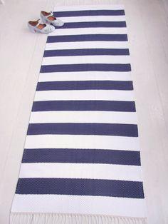 Weiß und Marine Stock Läufer nautische Läufer Teppich von leedas