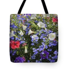 "Myriad Colors Tote Bag by Flamingo Graphix John Ellis (18"" x 18"").  The tote bag is machine washable, available in three different sizes, and includes a black strap for easy carrying on your shoulder.  All totes are available for worldwide shipping and include a money-back guarantee."