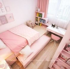 Trendy bedroom ideas for small rooms for teens for girls decor Ideas Small Bedroom Designs, Small Room Bedroom, Trendy Bedroom, Bedroom Colors, Girls Bedroom, Bedroom Decor, Bedroom Ideas, Small Rooms, Bedrooms