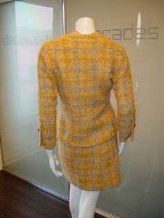 Chanel Haute Couture by Coco Chanel early 60s yellow and lilac suit with blouse s