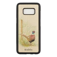 Watercolor Ring-Necked Pheasant Game Bird Custom Carved Samsung Galaxy S8 Case - country gifts style diy gift ideas