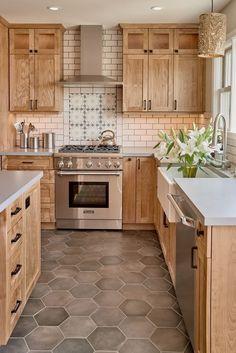 Hickory Cabinets Rustic Kitchen Design Ideas Wood Flooring Pendant