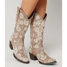 Lane Boots Wild Rose Cowboy Boot - Cream US 10 ($350) ❤ liked on Polyvore featuring shoes, boots, cream, tall boots, cowboy boots, cowgirl boots, embroidered cowgirl boots and cream shoes