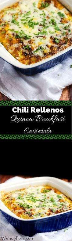 Chili Rellenos Quinoa Breakfast Casserole - This casserole is easy to make and can be made ahead.  Gluten free with a vegan option.